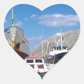 Viejo práctico de costa Dafni Pegatina En Forma De Corazón