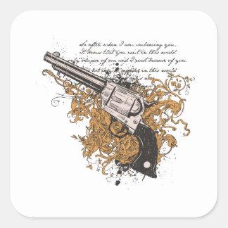 Viejo revólver del oeste pegatina cuadrada