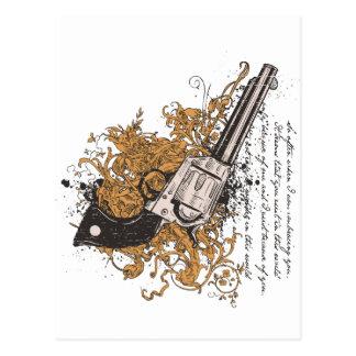 Viejo revólver del oeste postales