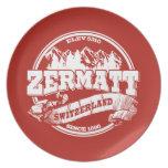 Viejo rojo del círculo de Zermatt Platos De Comidas