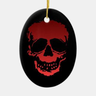 Viejo rojo del cráneo adorno navideño ovalado de cerámica