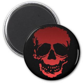 Viejo rojo del cráneo imán redondo 5 cm