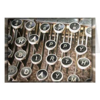 Viejo saludo del cumpleaños de la máquina de escri tarjeta