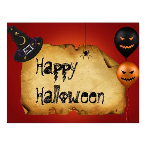 Viejo saludo del pergamino de Halloween - postal