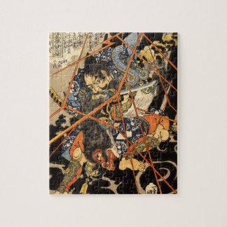Viejo samurai que mata a una pintura del monstruo puzzle con fotos