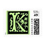 Viejo sello de la letra K de la caligrafía