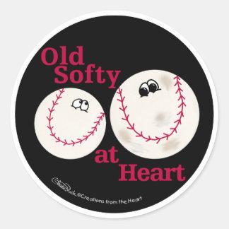 Viejo Softy del béisbol y del softball en el Pegatina Redonda