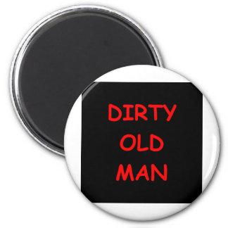 viejo sucio, hombre imán redondo 5 cm