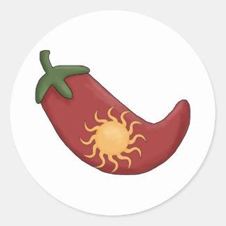 ¡Viejo!  Sun rellenó la pimienta de chile rojo Pegatina Redonda