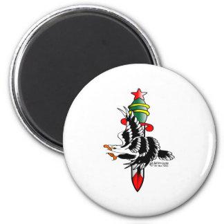 Viejo tatuaje Eagle de Skool y daga Imán Redondo 5 Cm