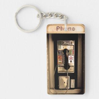 Viejo teléfono de pago llavero rectangular acrílico a una cara