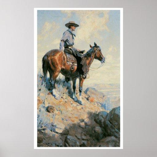 Viejo vaquero del oeste del poster de la impresión