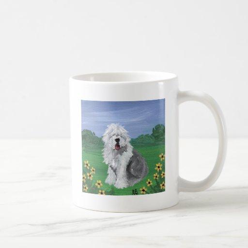 Viejo verano inglés del perro de ovejas taza