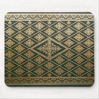Viejo verde de cuero y oro de la cubierta de libro alfombrilla de ratones
