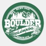 Viejo verde del círculo de Boulder Etiquetas Redondas