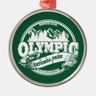 Viejo verde olímpico del círculo adorno navideño redondo de metal
