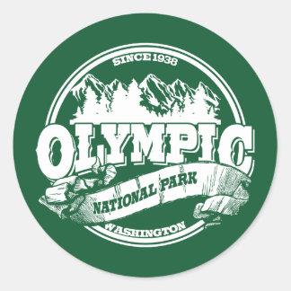 Viejo verde olímpico del círculo pegatina redonda