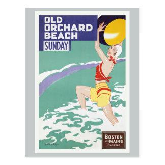 Viejo viaje del vintage de la playa de la huerta tarjeta postal