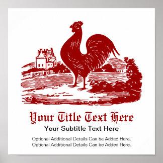 Viejo vintage del cortijo del gallo rojo póster