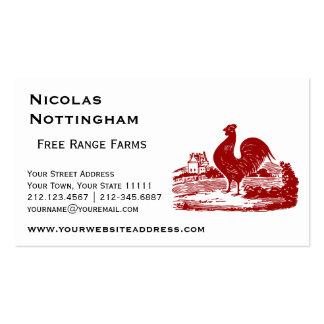 Viejo vintage del cortijo del gallo rojo tarjetas de visita