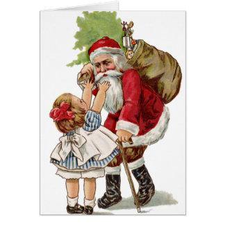Viejo vintage Santa de la tarjeta de Navidad de la