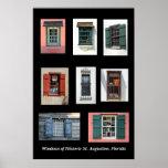 Viejo Windows de St Augustine histórico, la Florid Póster