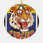 Viejos 1900s originales del poster del circo del adorno navideño redondo de cerámica