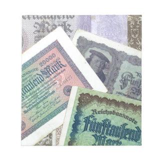 Viejos banknodes libretas para notas