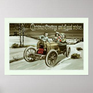 Viejos coche y niños póster