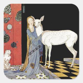 Viejos cuentos de hadas franceses: Bonne-Biche Pegatina Cuadrada