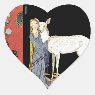 Viejos cuentos de hadas franceses: Bonne-Biche Pegatina En Forma De Corazón