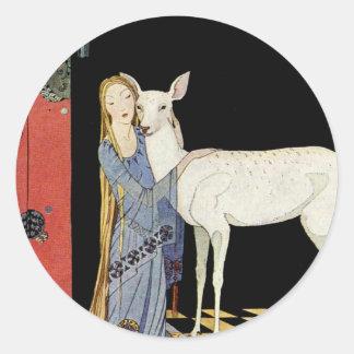 Viejos cuentos de hadas franceses: Bonne-Biche Pegatina Redonda