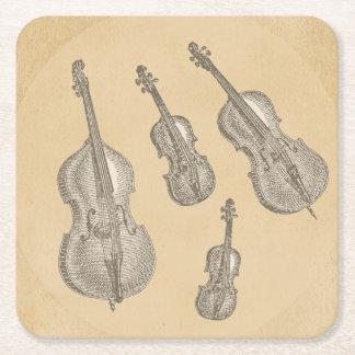 Viejos dibujos lineales atados de los instrumentos posavasos personalizable cuadrado