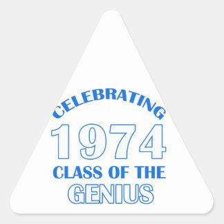 viejos diseños del cumpleaños 40years pegatina triangular