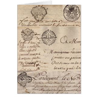Viejos documentos franceses tarjeta de felicitación