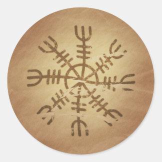 Viejos encantos mágicos islandeses de pegatinas redondas