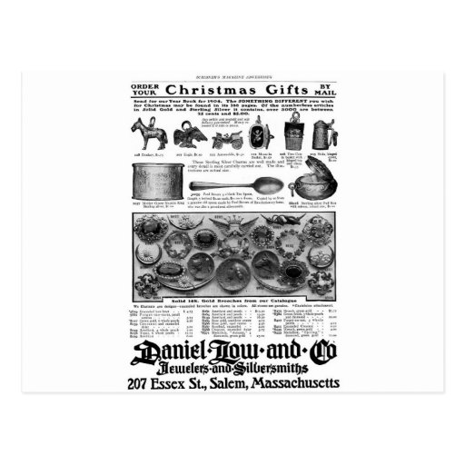 Viejos encantos y broches del regalo del navidad d postal
