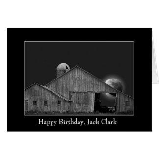 viejos granero y silo con la Luna Llena en marco Tarjeta De Felicitación