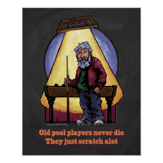 Viejos jugadores de la piscina póster