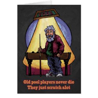 Viejos jugadores de la piscina tarjeta de felicitación