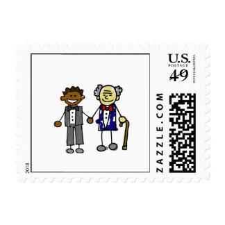 Viejos pares asiáticos traseros jovenes timbres postales
