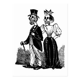 Viejos pares esqueléticos circa 1900s tempranos, tarjeta postal