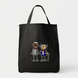 Viejos pares gay interraciales bolsa tela para la compra
