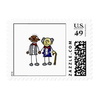 Viejos pares gay interraciales - negro asiático timbre postal