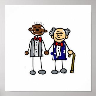 Viejos pares gay interraciales póster