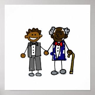 Viejos pares gay negros jovenes póster