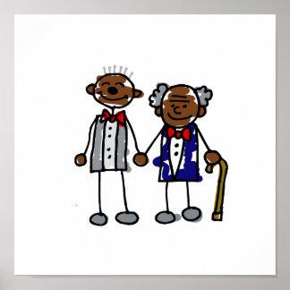 Viejos pares gay negros póster