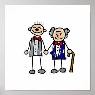 Viejos pares gay póster