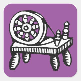 Viejos pegatinas de la imagen de la rueda de pegatina cuadrada