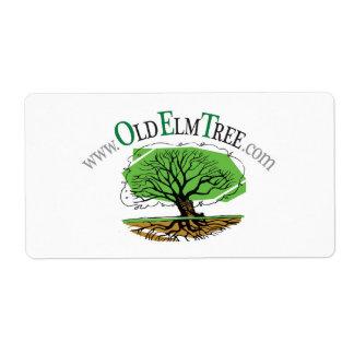 Viejos pegatinas rectangulares del árbol de olmo etiqueta de envío